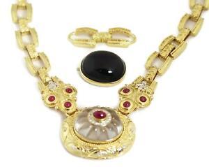 59350-Estate-4-50ct-Ruby-amp-Diamond-Quartz-Onyx-Changeable-Pendant-Necklace
