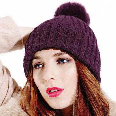Beechfield Bobble Beanie Donna Inverno Lana Pom Pom Cappelli Alla Moda Caldo Inverno-mostra Il Titolo Originale