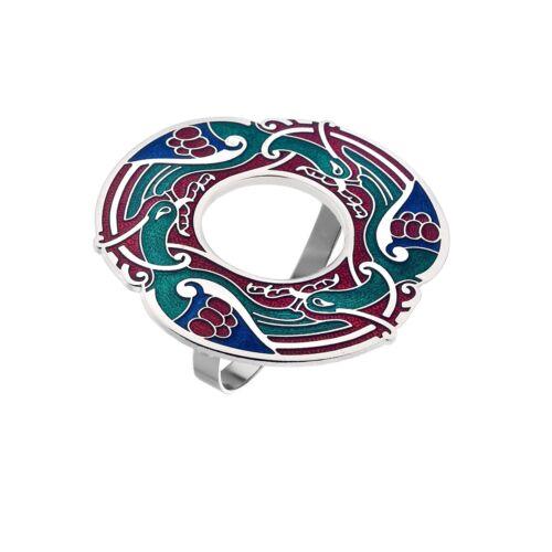 Gift Boxed Celtic Birds Enamel Scarf Ring