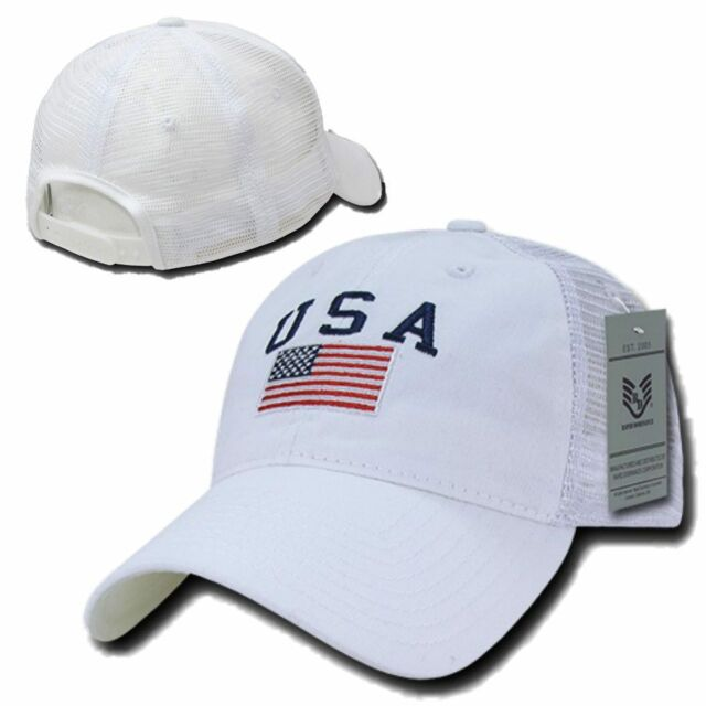 White USA US American Flag United States America Polo Trucker Baseball Hat  Cap c973d0645e0