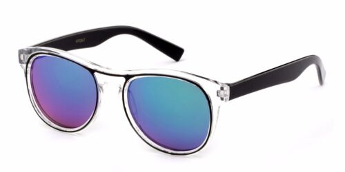 Kid/'s Retro Sunglasses Clear Frame 2 Tone Horn Rimmed with Flash Mirror Lens