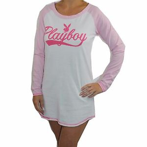 30195a423f Image is loading Womens-Playboy-Nightie-Nightshirt-Ladies-Nightdress-White -Pink-