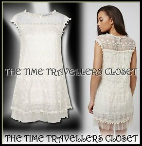BNWT-TOPSHOP-Women-039-s-White-Cream-Lace-And-Mesh-Babydoll-Dress-By-Rare-UK-8-10-M