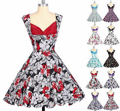 1940s 50's Vintage Retro Cotton Floral Swing Polka Dots Party Dresses