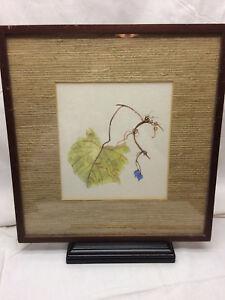 Vintage-watercolor-Painting-Grape-leaf-Vine-Signed-J-Plohr-Art-Wine-Vineyard