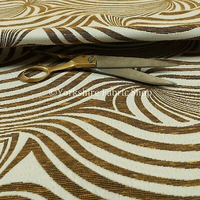 Modern Funky Stripe Zebra Pattern Yellow White Lightweight Furnishing Fabrics