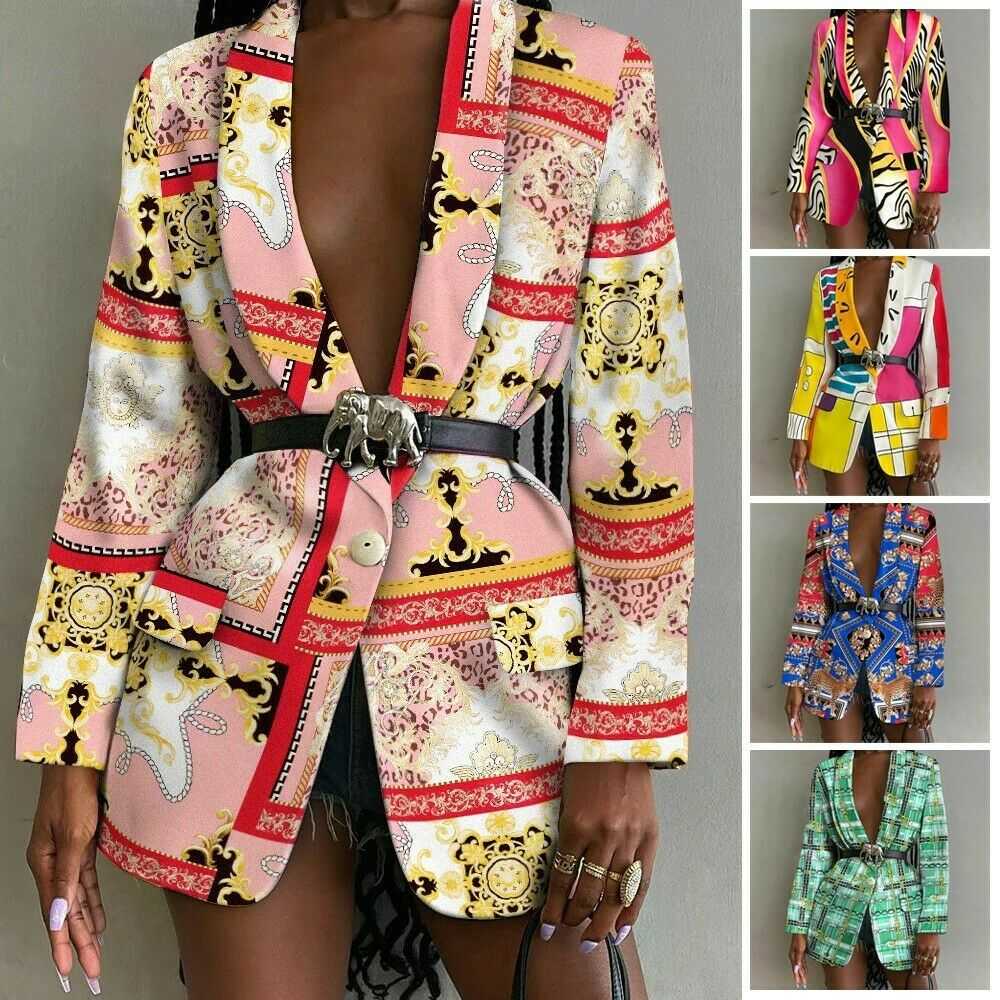Coat Outwear Polyester Print Slim Blazer Business Clothing Comfortable