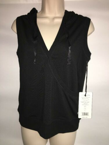Reflex Athletic Top Womens Size Small Sleeveless Hoodie Black 0804681 NWT $38