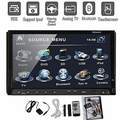 "Hitachi Head-Double Din 7"" Car Stereo Radio DVD Player Ipod Bluetooth TV Mic Mp3"