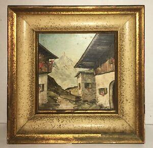 Beautiful Antique Alpine Miniature Painting CityScape Gothic Village Fine Artist