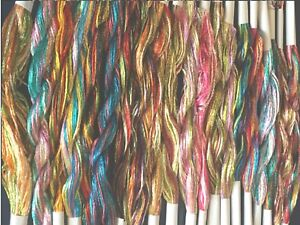 20 Skeins Large Silk Stranded Multi Coloured  Glitter Twisted Embroidery Threads