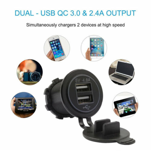4.8A Waterproof Dual USB Charger Red LED w// Wire Fuse for Car Boat Motorcycle
