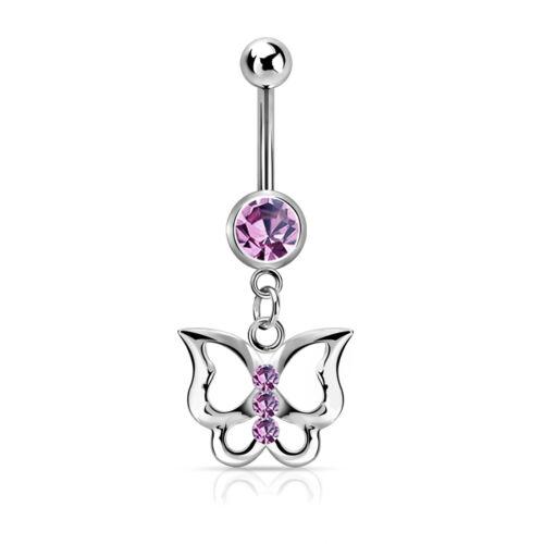 Bauchnabelpiercing Schmetterling Butterfly Zirkonia Kristall Autiga®