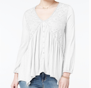 NWT American Rag Lace Peasant Top Medium Cream Weiß Free Ship