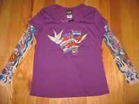 Women's Harley-davidson Tee Shirt Size Xl Long Sleeve Top Tatoo Arms Purple