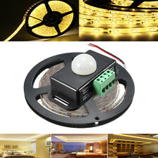 5M SMD2835 300 LED Waterproof Warm White Tape Strip Light + PIR Motion Sensor Sw