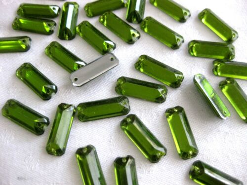 verde oliva 7x18mm para aufnähen 50 de acrílico de pedrería-piedras fosforescentes st20.4