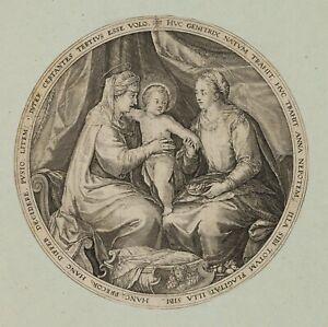 SCHWARTZ, Anna selbdritt. Mit Maria u. Christuskind, Anfang 1600, Kupferstich