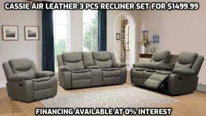 CASSIE 3 PCS AIR LEATHER RECLINER SET WITH CUP HOLDERS(FINANCING AVAILABLE AT 0% INTEREST)OPTION TO PAY ON DELIVERY Barrie Ontario Preview