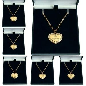 Rose Gold Necklace With Any Engraving On Personalised Heart Pendant In Gift Box Ebay