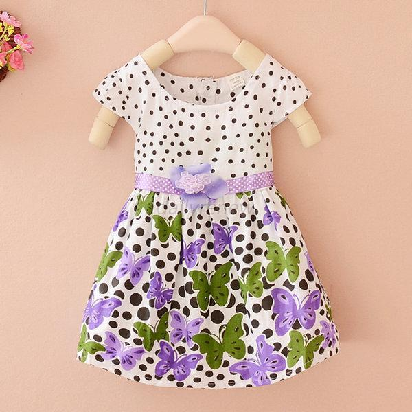 Baby Butterfly Princess One-piece Dress Skirt Girls Kids Polka Dots Dress D49