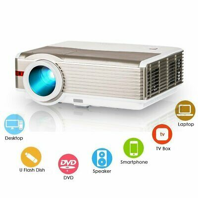 EUG HD 5000lm LED Home Theater LCD Projector Movie Night Party HDMI 200'' Screen