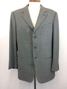 Armani-Jacket-44L-Black-Silver-100-Wool-Mens-3-Button-Blazer