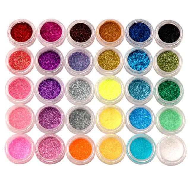 30 Colors Nail Art Acrylic Shiny Glitter Powder Dust Beads For Tips Decoration