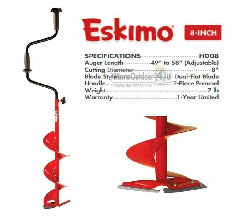 HD08 New Eskimo Adjustable Length  8  Standard Hand Ice Auger Dual Flat Blades  your satisfaction is our target