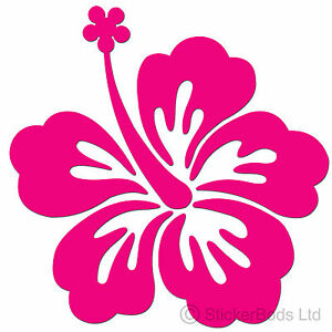 36-HOT-PINK-HIBISCUS-FLOWERS-car-wall-stickers-T3