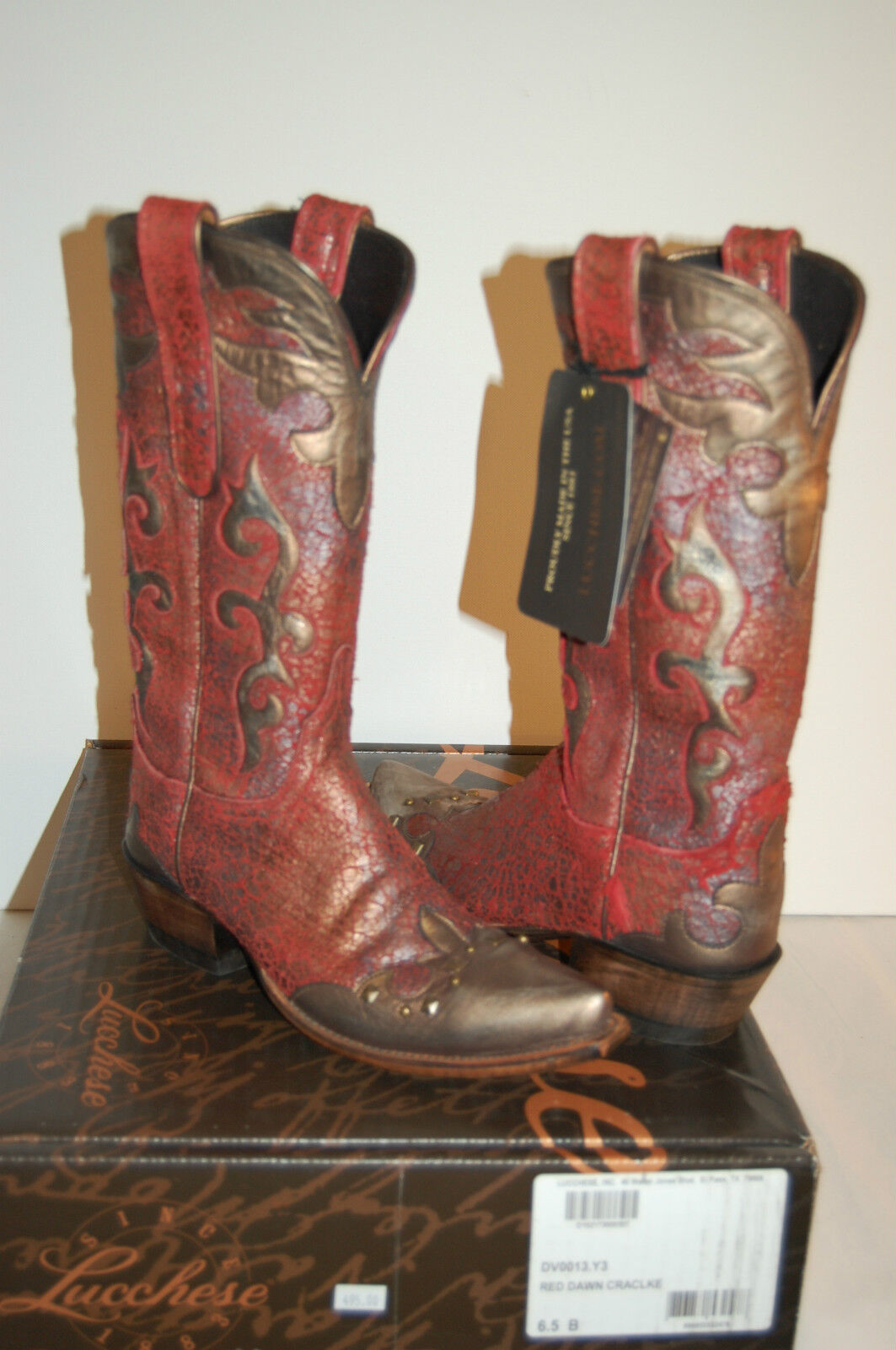 New $495 Lucchese Red Dawn Crackle Cowboy Boot Leather Red Gold 6.5 B Western