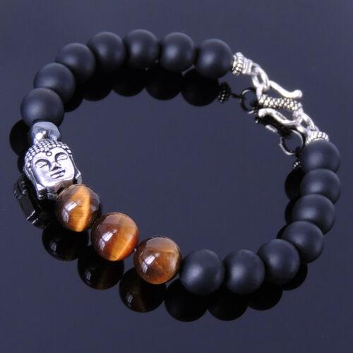 Men/'s Women Bracelet Matte Black Onyx Tiger Eye Sterling Silver Buddha Clasp 146