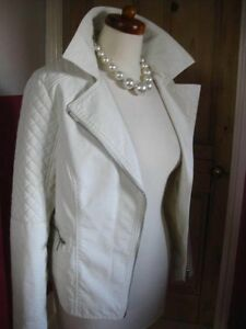 Edition Limited Jacket Faux Ivory amp;s Ladies M Uk Biker Leather Bomber 12 White 10 F5ndwaxqx6