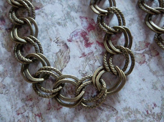 Double Link Chain - Antiqued Brass - 10mm Links Smooth & Textured 43 inch strand