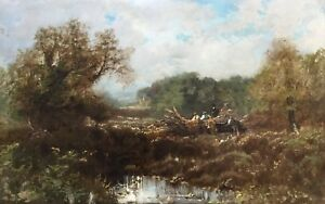 Woodcutters-in-a-Landscape-Antique-Oil-Painting-19th-Century-English-School