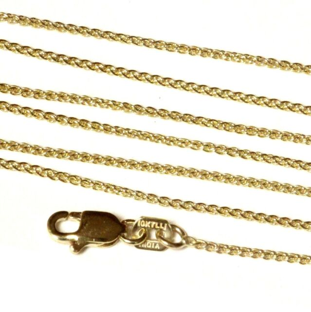 New 10k yellow gold diamond cut 1.0mm wheat chain necklace 18