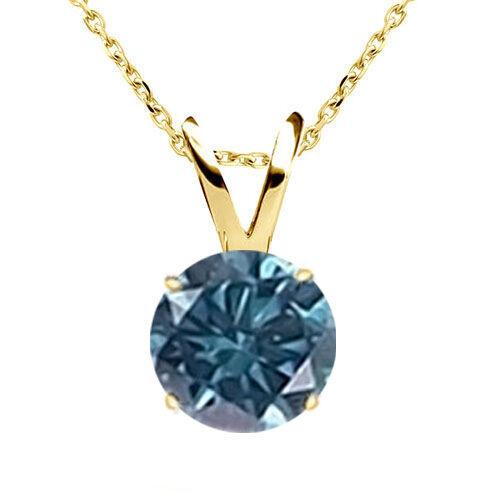 "0.35 CT total Carat peser Diamant Bleu 14K Or Jaune Solitaire Collier Pendentif 18/"" Chaîne"