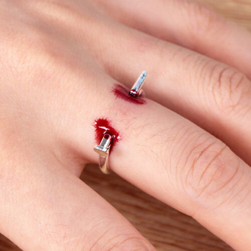 Men Women Horror Halloween Statement Open Ring Scare Puncture Nail Ring CB