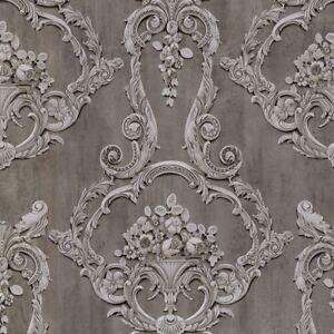 Grosvenor 3D Effekt Damast Tapete Anthrazit Grau - Debona 6215