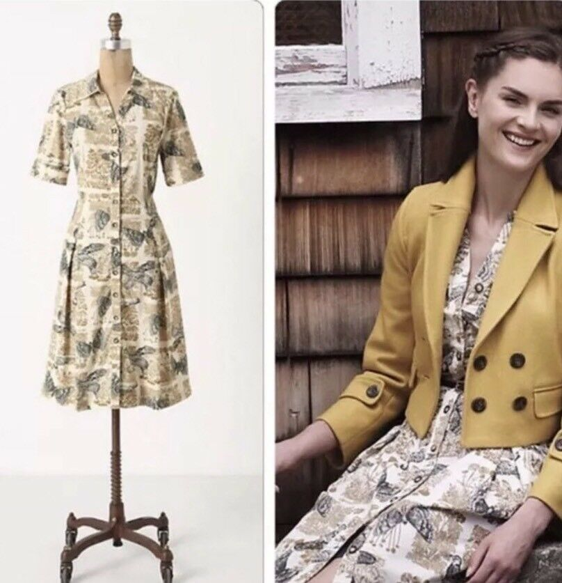 162. Anthropologie Alary Shirtdress Sz 6 Girls From Savoy Birds Pockets Corduroy