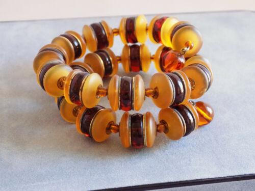 Acrylic Beads Goldtone ORANGE BRACELET And EARRINGS Memory Wire Bracelet And 2 Pair Earrings Set Orange Swirl Beads Burnt Orange Twist