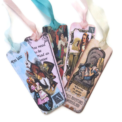 NEW Alice in Wonderland Paper Bookmarks-Favours-Drink Me-Eat Me-Tea Party-Rabbit