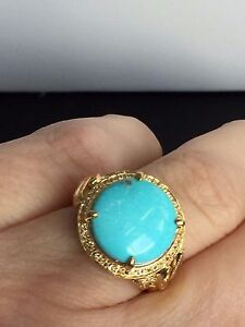 Genuine-Turquoise-amp-White-topaz-Ring-Silver-14Kt-Plated-Size-7