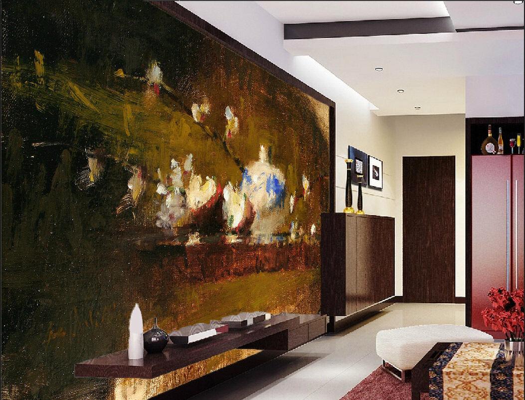 3D Jolie Peinture 4 Photo Papier Peint en Autocollant Murale Plafond Chambre Art