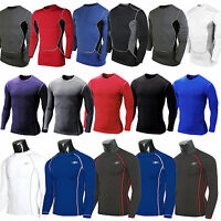 Mens Compression Base Layers Body Armour Long Sleeve Under Shirt Top Skins Tee