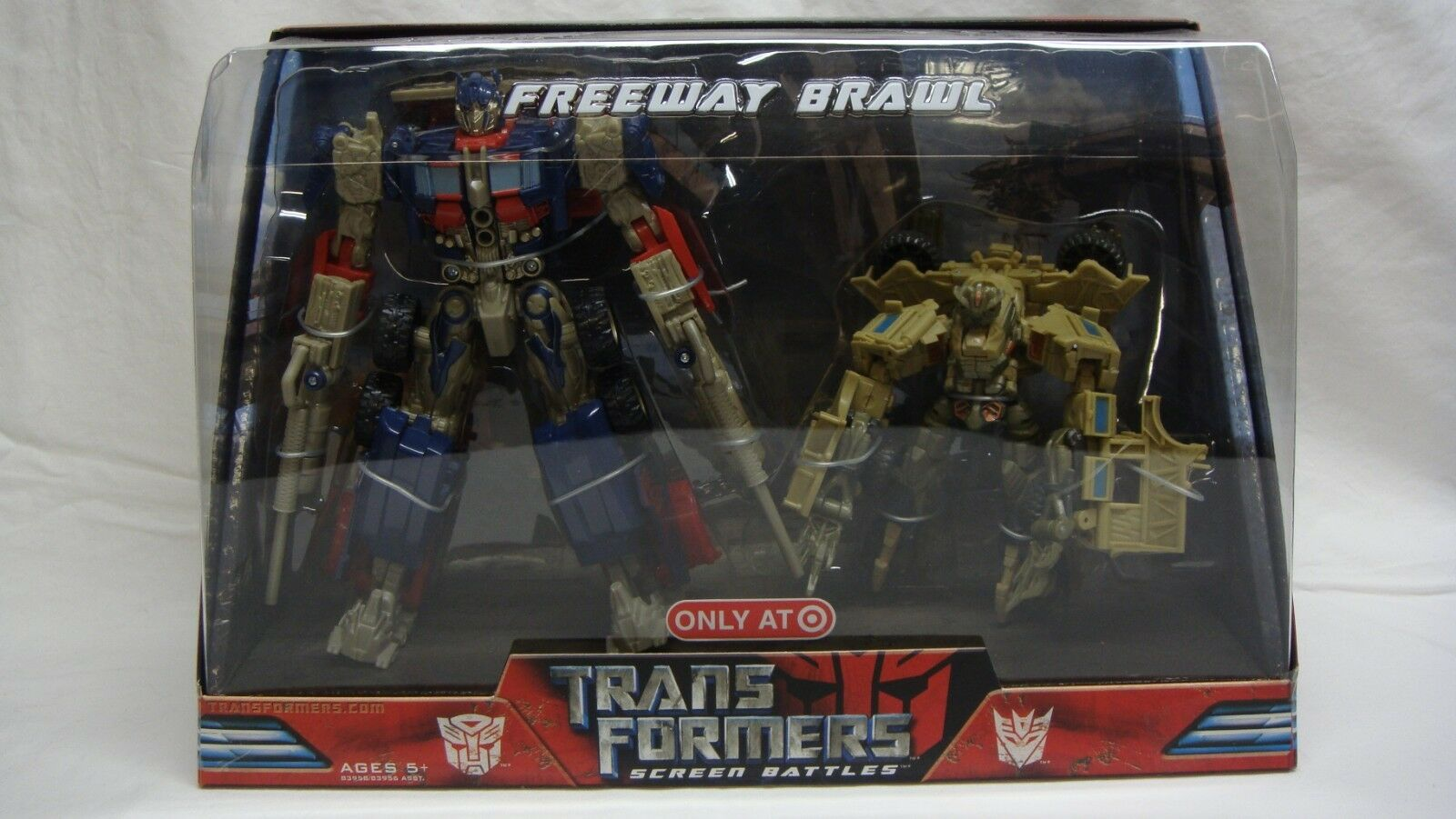 TRANSFORMERS MOVIE BATTLES FREEWAY BRAWL OPTIMUS PRIME BONECRUSHER TARGET NEW