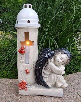 Herz Engel Grablaterne Grablampe Grableuchte Teelicht Grabschmuck Schutzengel
