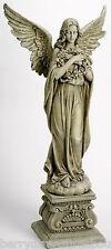 """48"""" ANGEL HOLDING WREATH Indoor Outdoor Garden Statue Josephs Studio 47623"""