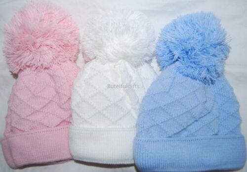 Baby Boy Girl Espagnol Style double tricot pompon pompon hat Diamond Design