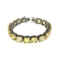 Antique 2 Tone Yellow Canary Cushion Cubic Zirconia Tennis Bracelet 15mm Stones